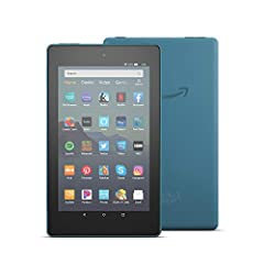 """7"""" IPS display; 16 or 32 GB of internal storage (add up to 512 GB with microSD) Faster 1.3 GHz quad-core processor Up to 7 hours of reading, browsing the web, watching video, and listening to music Hands-free with Alexa, including on/off toggle 1 GB ..."""