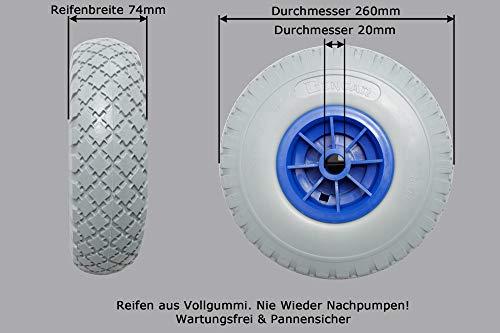 Bengar lekbestendig PU-wiel (Ø 260 mm), sliprad, banden, massief rubber, steekwagen 3.00-4