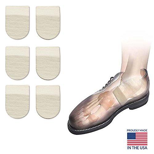 Hapad Heel Pads, Achilles Inserts, Heel Cushion Pads - 2-1/2' x 5/16' (WxH) Pack of 3 pairs of Hapad Heel Cushion Pads