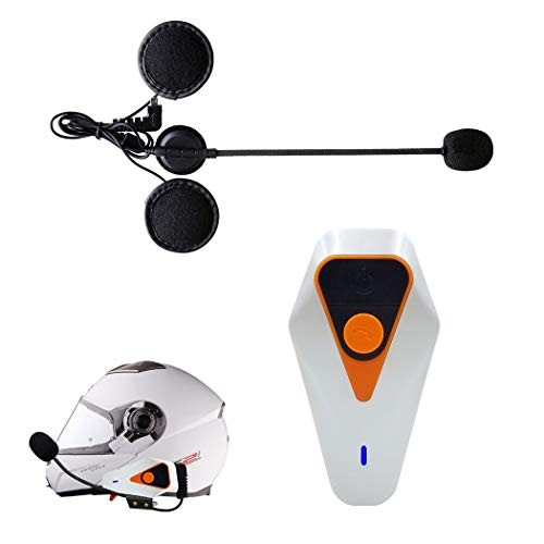 ZIXUAL Auricular bluetoothAuriculares de Bluetooth del Casco de la Motocicleta, 1000m Bluetooth Walkie-Talkie, FM Auricular Impermeable, Traje para Montar/Esquiar