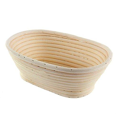 UNKC Gärkorb Gärkörbchen Oval, 15 * 8 * 5 cm, Brot Teig Korb Form Gärkörbe Korb aus Natürlichem Peddigrohr für selbstgemachtes Brot für professionelle und häusliche Bäcker, Brotbacken, Bäckermesser