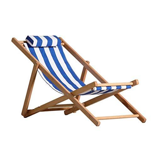 DFJU Sillas de Playa Plegables, Silla de Almuerzo de Rayas de Haya, Tumbona de jardín de Ocio, Azul