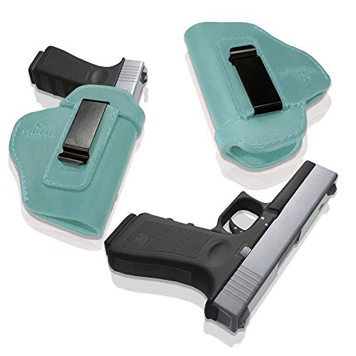 LifeForce Tactical IWB Leather Women's Holster for Concealed Carry, Glock 17 19 22 23 32 43, S&W M&P Shield 9mm, Springfield XD-S, & Similar Beretta, H&K, Kel-Tec, Ruger, Taurus (Teal, Right Hand)