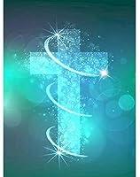DIY 5Dダイヤモンド絵画キット、大人のクリスタル刺繍クロスステッチアートクラフトキャンバス壁の装飾、宗教的な十字架 (Color : 40x50cm/15.75x19.69inch)