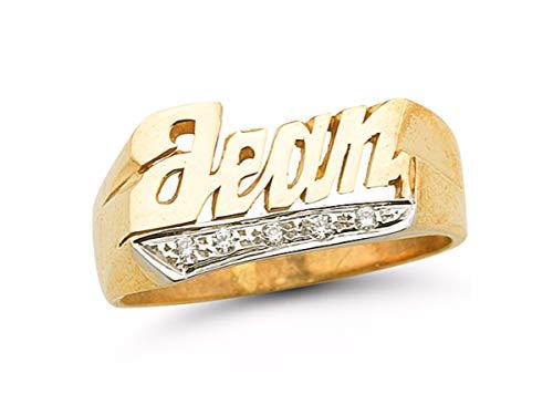 Personalizado Nombre de diamante anillo–Unisex Script estilo 8mm plata de ley o plata chapado en oro amarillo