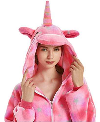 JXUFUFOO Erwachsene Jumpsuit Schlafanzug Einhorn Tierkostüm für Halloween Karneval Fasching Herren Damen,Rosa Stern,M(Höhe 1,55m-1,65m)