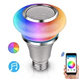 TACAHE Bluetooth Speaker Light Bulb Music Bulb APP & Remote Control RGB + Cool White Color Changing Dimmable LED Lightbulb 300LM 8W E26 Base 1Pack