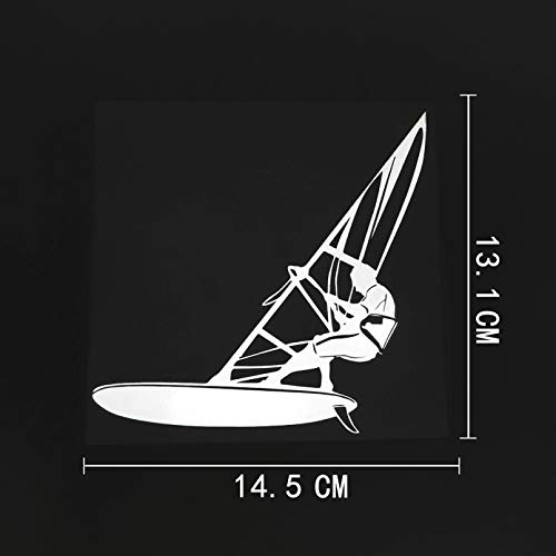 JKGHK Pegatinas para coche, 2 unidades, para windsurf, deportes extremos, vinilo para coche, color negro, plateado, 14,5 x 13,1 cm, divertidos adhesivos impermeables
