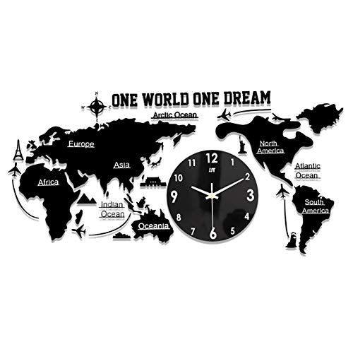 World Map Acryl Silent Wall Clock Black Batterij Aangedreven Oversized Wall Clock Cafe Home Decoration Klok