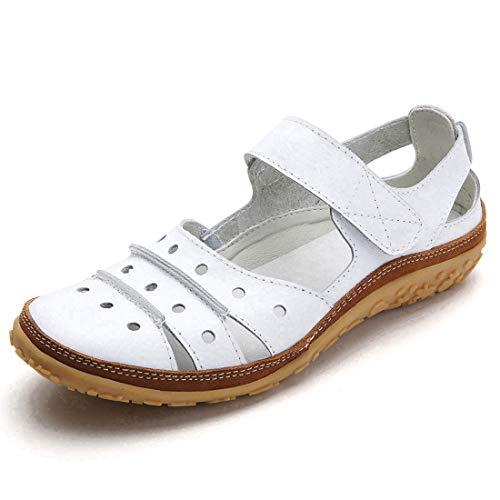 Z.SUO Damen Sandalen Flach Leder Bequeme Casual Mokassin Loafers Fahren Schuhe Mode Sommer Zehentrenner Sandalen(41 EU,A Weiß)