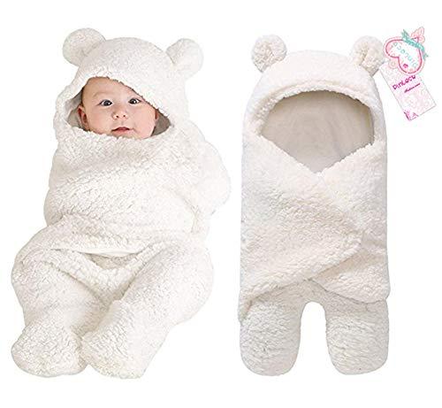 Pinleck Newborn Baby Boy Girl Cute Cotton Plush Receiving Blanket Sleeping Wrap Swaddle (White, One Size)