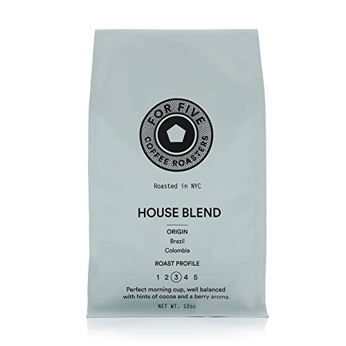 For Five Coffee Roasters NYC House Blend Medium Roast (Origin: Brazil, Columbia), Whole Bean 12 oz