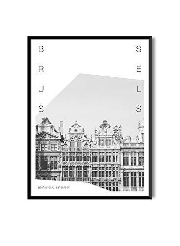 MILUKA Láminas para Enmarcar para Cuadro de Estilo Fotográfico | Póster de Ciudades y Viajes | Bruselas | Blanco y Negro (20 x 30 cm)