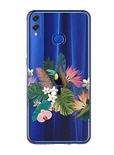 Oihxse Case Transparente Suave TPU Compatible con Huawei P9 Lite 2017 Funda [Lindo Caricatura Flor Serie Dibujos] Cristal Protector Carcasa Anti Rasguños Bumper Cover-Loro