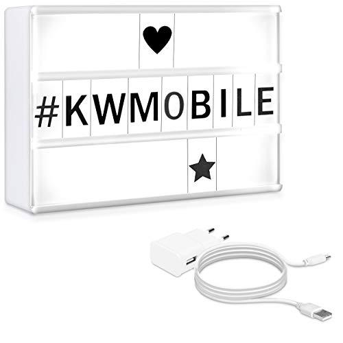 kwmobile Caja de luz LED A6 - Lightbox con cargador USB - Light box con luces de 7 colores y 126 letras negras - Cartel cinematográfico decorativo
