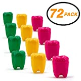 SRENTA 1.25' Neon Tooth Saver, Rainbow Tooth Holders Case Dentist Office, Portable Tooth Container For kids, 72 Pcs