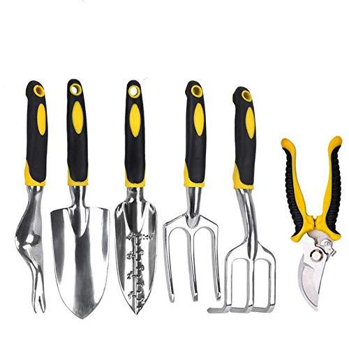 Hunting Friends Garden Tools Set, 6 Piece Heavy Duty Cast-Aluminium Alloy Gardening Tools Including Transplanting Spade, Trowel, Rake, Cultivator, Weeder, Pruner Gardening Supplies Gifts for Men Women
