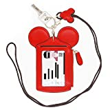 HXQ ID Holder With Lanyard Badge Holder,PU Leather newchic Cute Animal Shape neck wallet for Women, Red, Small