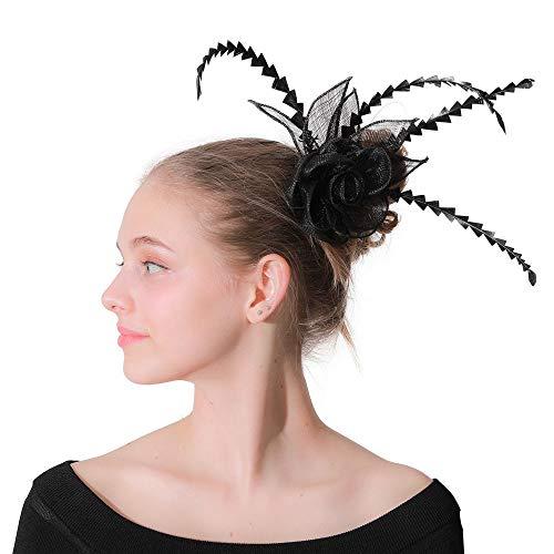 JTRHD Stirnband Fascinator Mädchen in Kopfschmuck mit Schleier und Frauen-Partei Brauthut Blume für Hochzeitscocktail Tea Party (Farbe : Black, Size : Free Size)