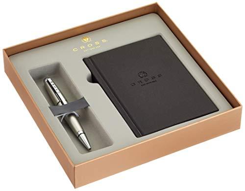 Cross Edge Rollerball Set mit Notizbuch (Strichstärke M, Schreibfarbe: schwarz, in Geschenkbox) titanfarben