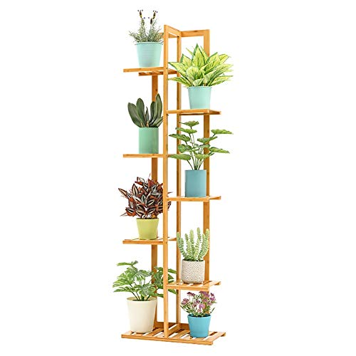 Étagère à Fleurs- Support De Fleurs Étagère À Fleurs À Étages De 7 Niveaux/Plant Stand - Support De Rangement En Bambou Pour Balcon