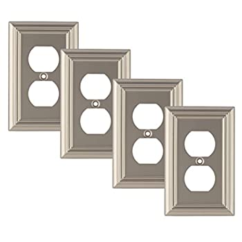 Pack of 4 Wall Plate Outlet Switch Covers by SleekLighting   Decorative Satin Nickel   Variety of Styles  Decorator/Duplex/Toggle / & Combo   Size 1 Gang Duplex