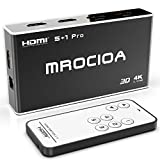 Hdmi Switch 4k, MROCIOA 5 In / 1 Out 4K 60HZ and HDR+ 3D Hdmi 2.0 Switcher Box with Remote, 5 Port 18Gbps Hdmi Selector Splitter for PS4 Pro/Xbox One X/Fire TV/Apple TV 4K / SKY BOX/Laptop/Roku.