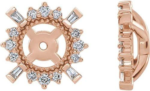 14K Rose Gold 1/6 CTW Diamond Earrings Jackets with 4.9 mm ID Accented Earrings Jackets