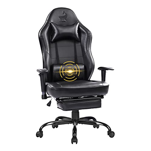 Blue Whale Massage Gaming Chair High Back Racing PC Computer Office Chair Swivel Ergonomic Executive Leather Desk Chair with Footrest and Adjustable Armrests