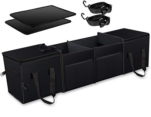 Mertonzo Organizador de maletero con tiras de velcro para comprar, llevar y empacar 115 * 28 * 28 cm Negro