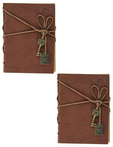 2 Stück Notizbuch mit Kordel-Schlüssel, Lederbindung, Vintage-Notizbuch, Tagebuch, Skizzenbuch, Geschenke mit unlinierten Reisetagebüchern