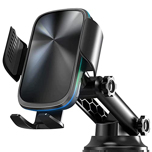 Cargador de automóvil inalámbrico, 15W Qi Qi Fast Wireless Cargador de automóvil Montaje de sujeción automática, soporte del teléfono Sensor Tablero de succión Montaje de ventilación compatible con S2