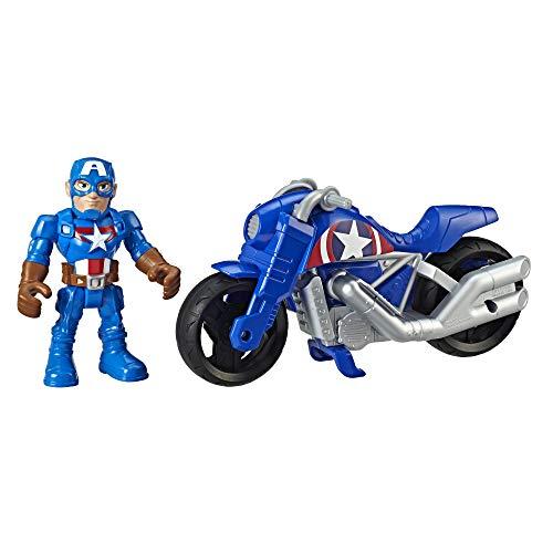 Super Hero Adventures Playskool Heroes Marvel Captain America Victory Racer, 5-Inch Figure and Motorcycle Set, Collectible Toys for Kids Ages 3 and Up