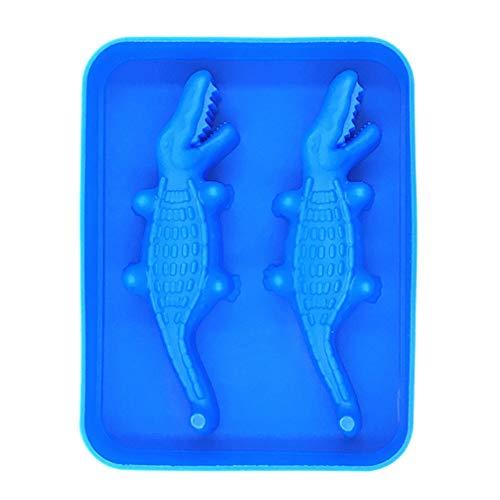 Hemoton 3D Krokodil Siliconen Ijsblokje Schimmel Lade Schimmel Ijsblokjesmaker Voor Sap Gelei Chocolade Whisky Ijs Cocktails Cola (Willekeurige Kleur)