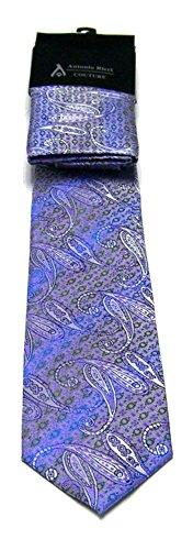 Antonio Ricci Herren-Set mit Krawatte und Einstecktuch in Paisleymuster, Lavendelviolett