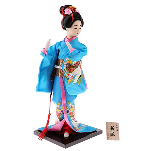 D DOLITY Exquisite Japanese Traditional Geisha Kabuki Blue Kimono Doll for House Office Decoration Ornaments