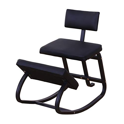 ZXCVBNAS Ergonomic Wooden Office Chair | Posture Correction Office and Home Wooden Stool | Backrest Support, Kneeling Swing Seat with Soft Orthopedic Knee Pads,Black