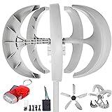 Happybuy Wind Turbine 600W 12V Wind Turbine Generator White Lantern Vertical Wind Generator 5 Leaves Wind Turbine Kit with Controller No Pole (600W 12V, White)