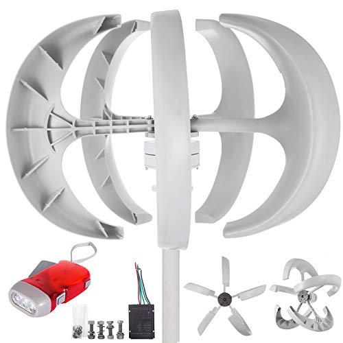 VEVOR Laterne Windkraftanlage Generator 600 W Haushalt Laterne Vertikale Windgenerator 12 V Windgenerator Weiß Nylonfaser Windturbine Vertikale Windkraftanlage