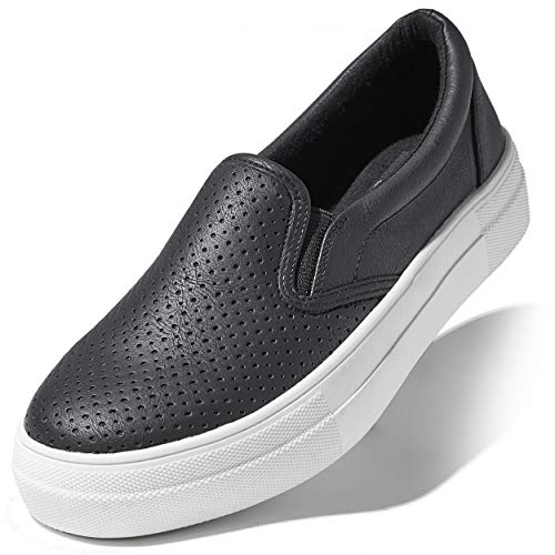 DailyShoes Shoe Platform Platform Slip-on Sneakers Slip On Soft Foot Bed with Comfortable Sole Flat Skate Walking Shoes Black PU,7