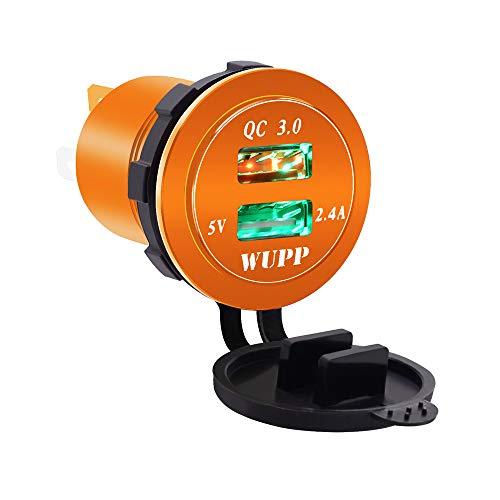 HappyTop - Toma de Corriente USB Doble, QC 3.0, Color Naranja, con Puerto de Carga rápida, aleación, con luz, Barco, Motocicleta, vehículo, RV, CS-526, Luz Verde.