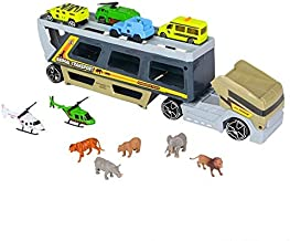 Srenta Wild Animals Transporter Truck Toy, Includes Variety of Animals and Cars, Great Gift Idea for All Ages.