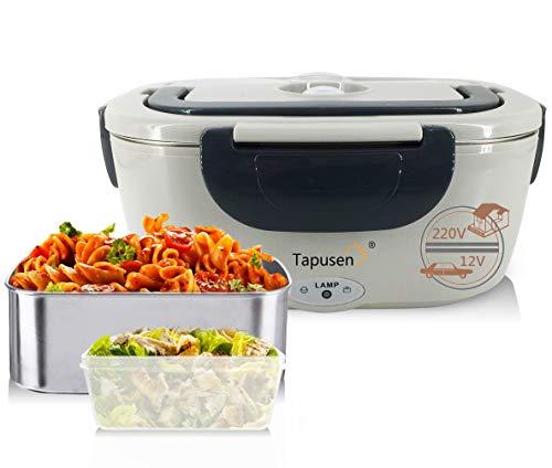 Tapusen Contenitore per alimenti elettrica 2 in 1 per auto e famiglia scatola elettrica 220 V & 12 V riscaldatore di cibo elettrico in acciaio inox con due scomparti E cucchiaio