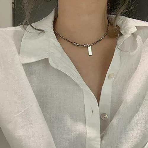 Chenfeng Collar con Colgante de Mujer Collar Plata en Forma U Doble Capa Cadena Corta clavícula para Mujer joyería Compromiso Boda Aniversario Regalos para Esposa Madre y Novia Regalo de cumpleaños