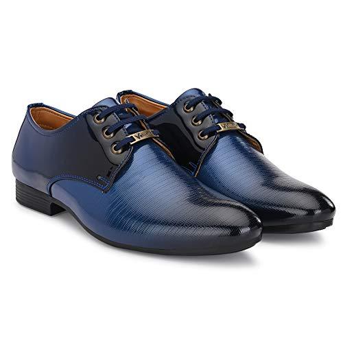 Vellinto ® Men's Blue Oxford Class Designer Patent Leatherette Shining Lace-Up Party Formal Shoes -9 UK