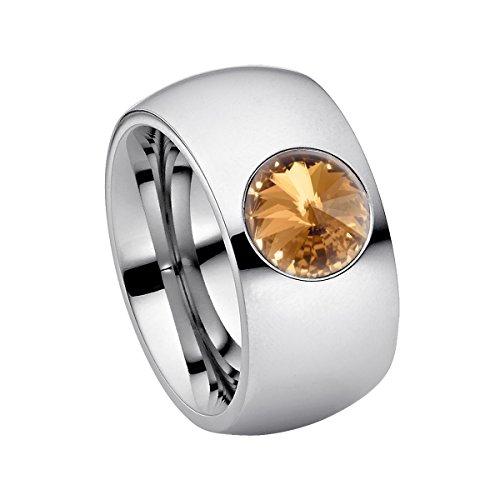 Heideman Ring Damen aus Edelstahl Silber farbend poliert Damenring für Frauen mit Stein Zirkonia