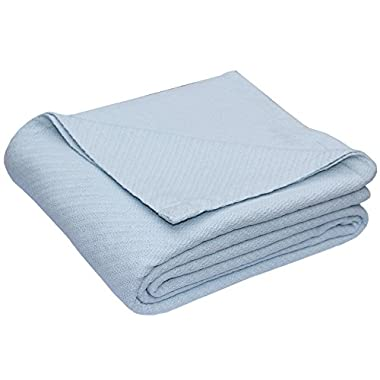 Cotton Craft - 100% Soft Premium Cotton Thermal Blanket - Full/Queen Sky Blue - Snuggle in these Super Soft Cozy Cotton Blankets - Perfect for Layering any Bed - Provides Comfort and Warmth for years