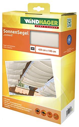 Windhager Sonnensegel für Seilspanntechnik, Wintergarten und Terrassen Beschattung, Seilspannmarkise, 420 x 140 cm, Uni Weiß, 10872