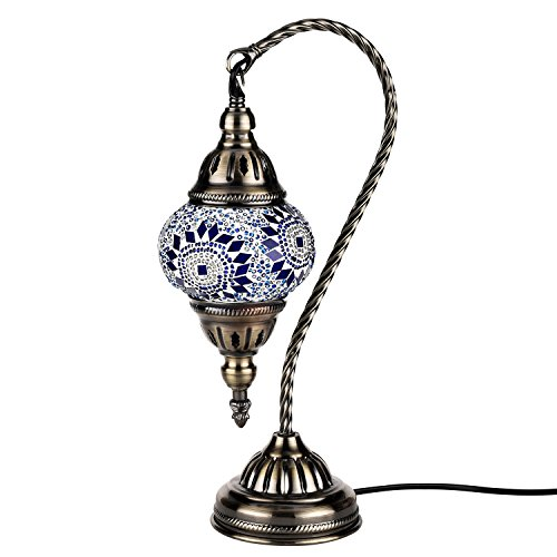Kindgoo Turkish Mosaic Table Lamp Handmade Unique Glass Lamp Swan Neck with Bronze Base Led Light Bulb Included (Blue)