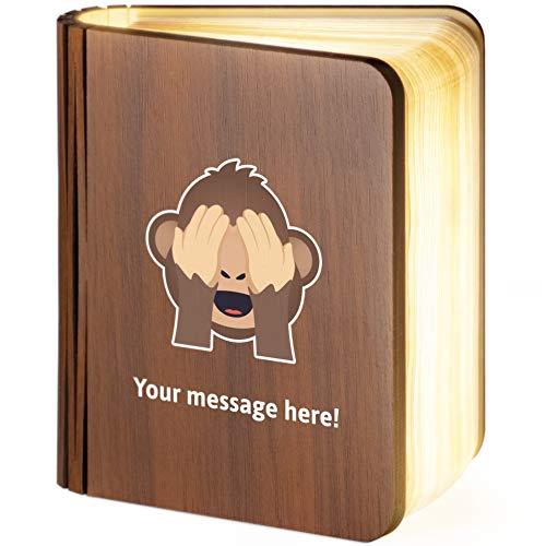 Pequeña lámpara de libro magnética plegable de madera con diseño de mono, de Emoji de See-no-Evil-Monkey